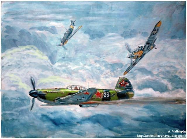 Pintura al oleo de la piloto rusa apodada la Rosa blanca de Stalingrado 5