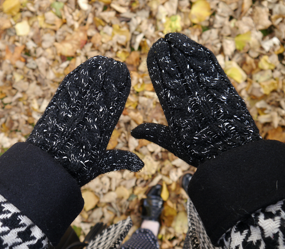 Styled by Helen, Scottish blogger, Wardrobe Conversations, Dundee blogger, winter outfit, winter style, dressing for winter, monochrome outfit, monochrome street style, winter accessories, Tiger, charity shop find, clashing patterns, black and white outfit
