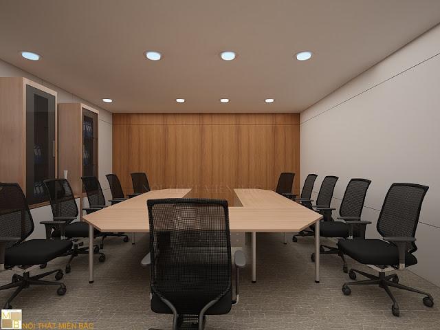 Chiếc bàn phòng họp cao cấp chữ U có chất liệu gỗ chính là điểm nhấn nhá cho thiết kế nội thất phòng họp này