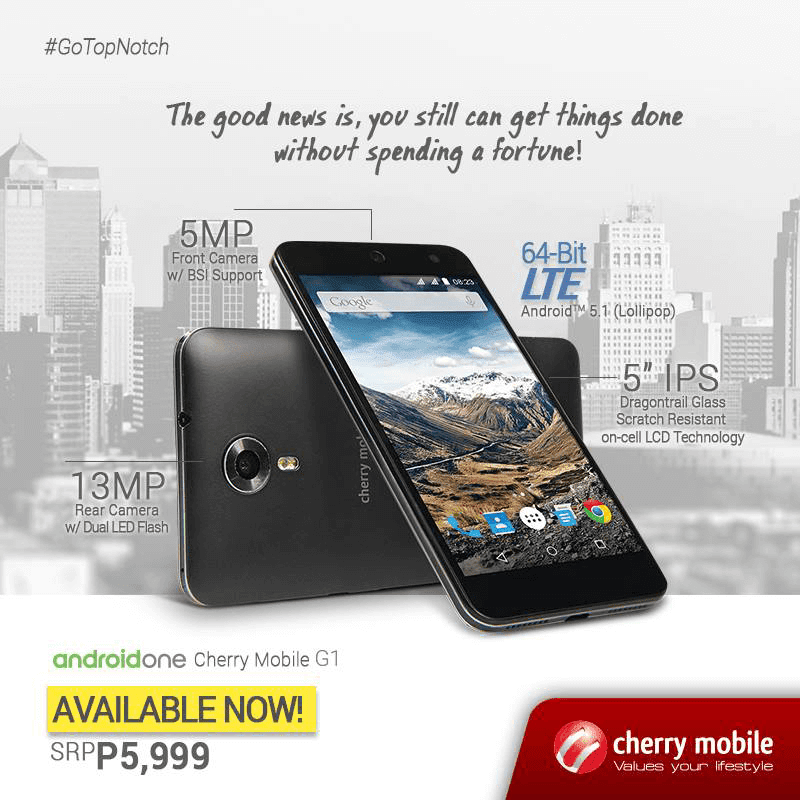 CHERRY MOBILE ONE G1 NOW AVAILABLE IN STORES NATIONWIDE FOR JUST 5,999 PESOS!
