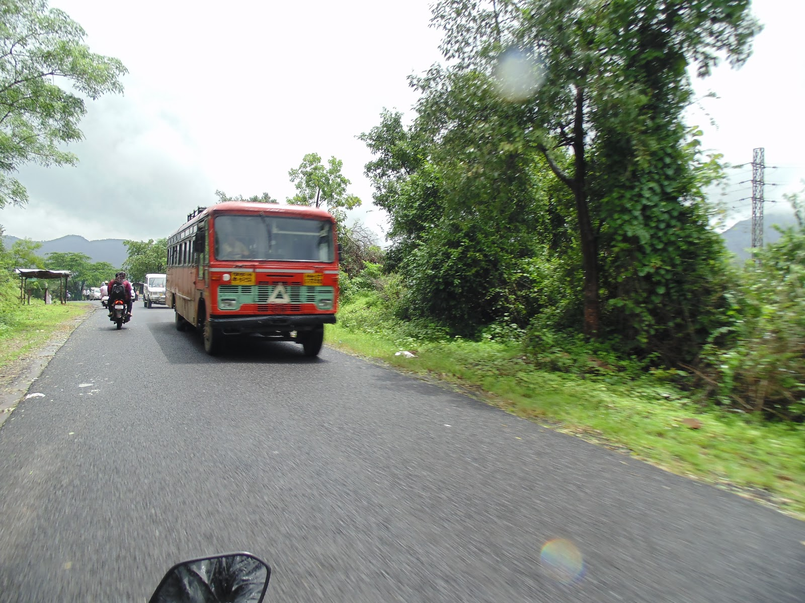 MSTRC bus on the way to Tamhini ghat from pune