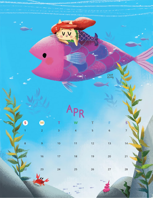 Cartoon Cat April 2018 Calendar with Monday as the first day of the week
