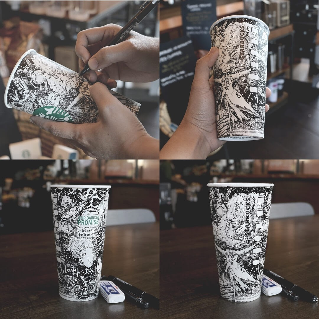 12-Hayao-Miyazaki-inspired-cup-Illustration-Joseph-Catimbang-Detailed-Black-and-White-Ink-Drawings-www-designstack-co