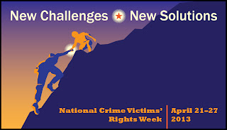 Logo of National Crime Victims' Right Week, with man helping another up a globe.