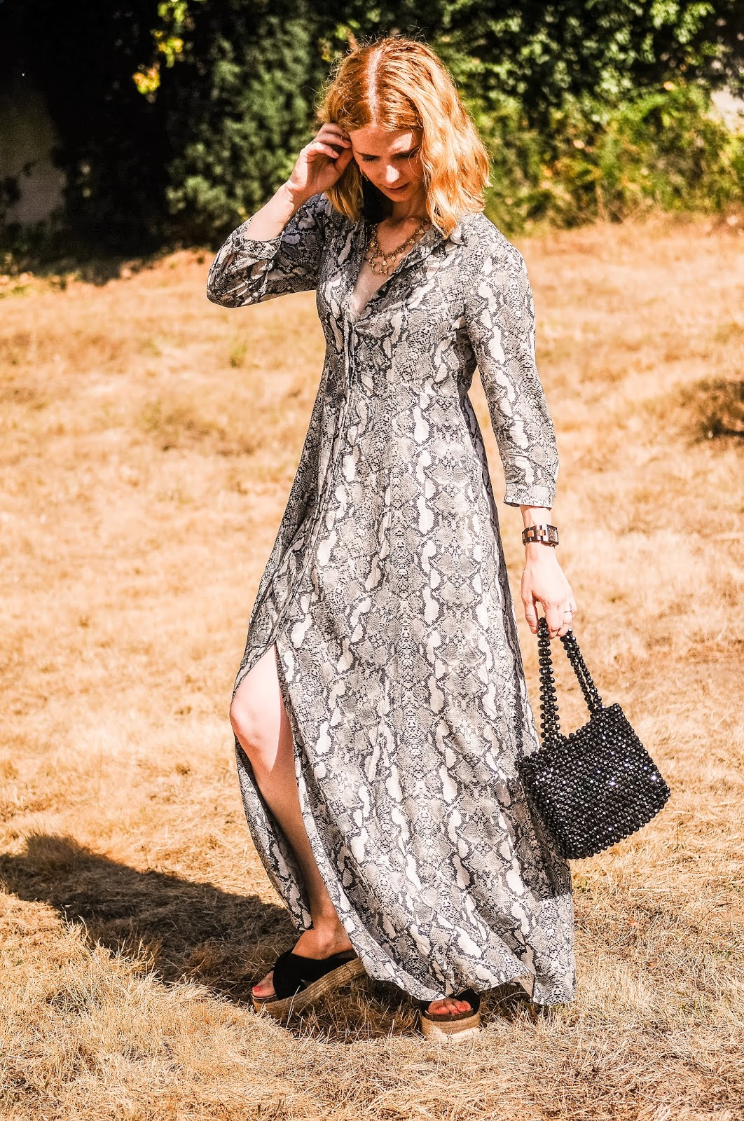ZARA NEW GREY LONG SNAKE PRINT FLOWING SHIRT DRESS SIZE XS