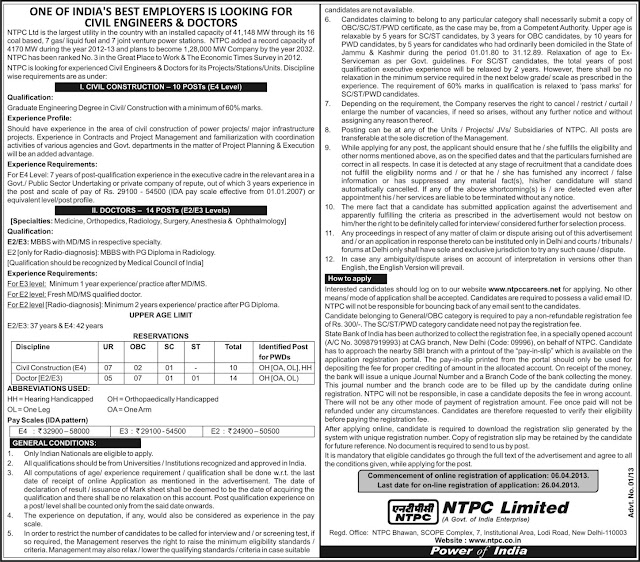 NTPC 2013 Recruitment Online Details