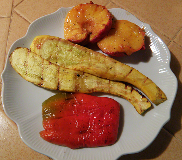 Grilled Yellow Squash and Red Peppers
