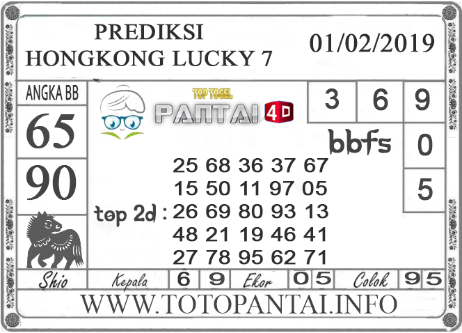 """Prediksi Togel """"HONGKONG LUCKY 7"""" PANTAI4D 01 FEBRUARI 2019"""
