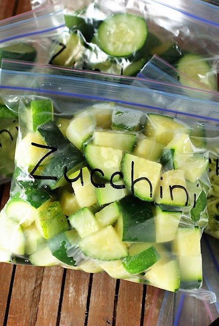 Zucchini Chunks Packaged for Freezing Image