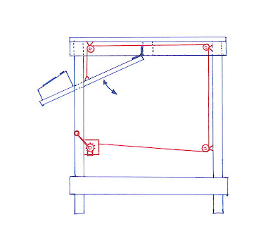 A sketched diagram showing a winch system that raises and lowers a control panel