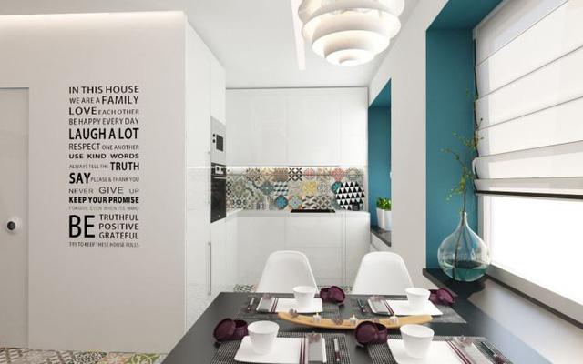 Không gian bếp căn hộ 55m2