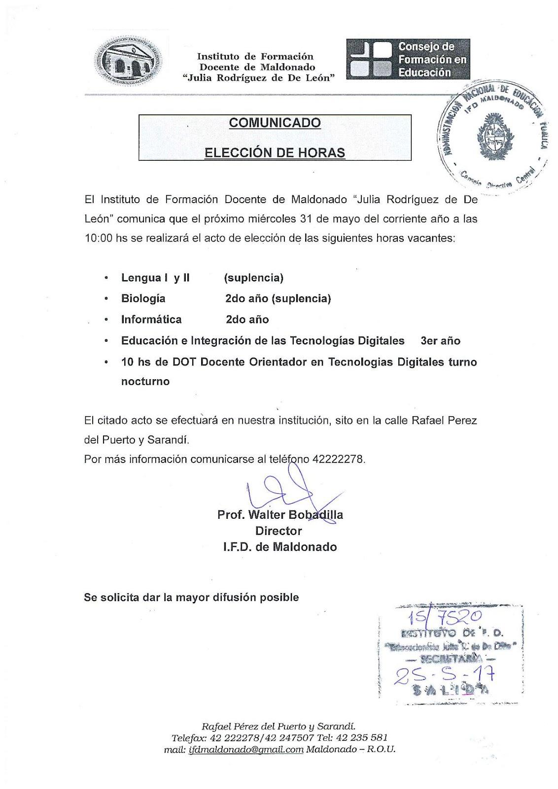 Instituto de formaci n docente de maldonado elecci n de horas for Instituto formacion docente