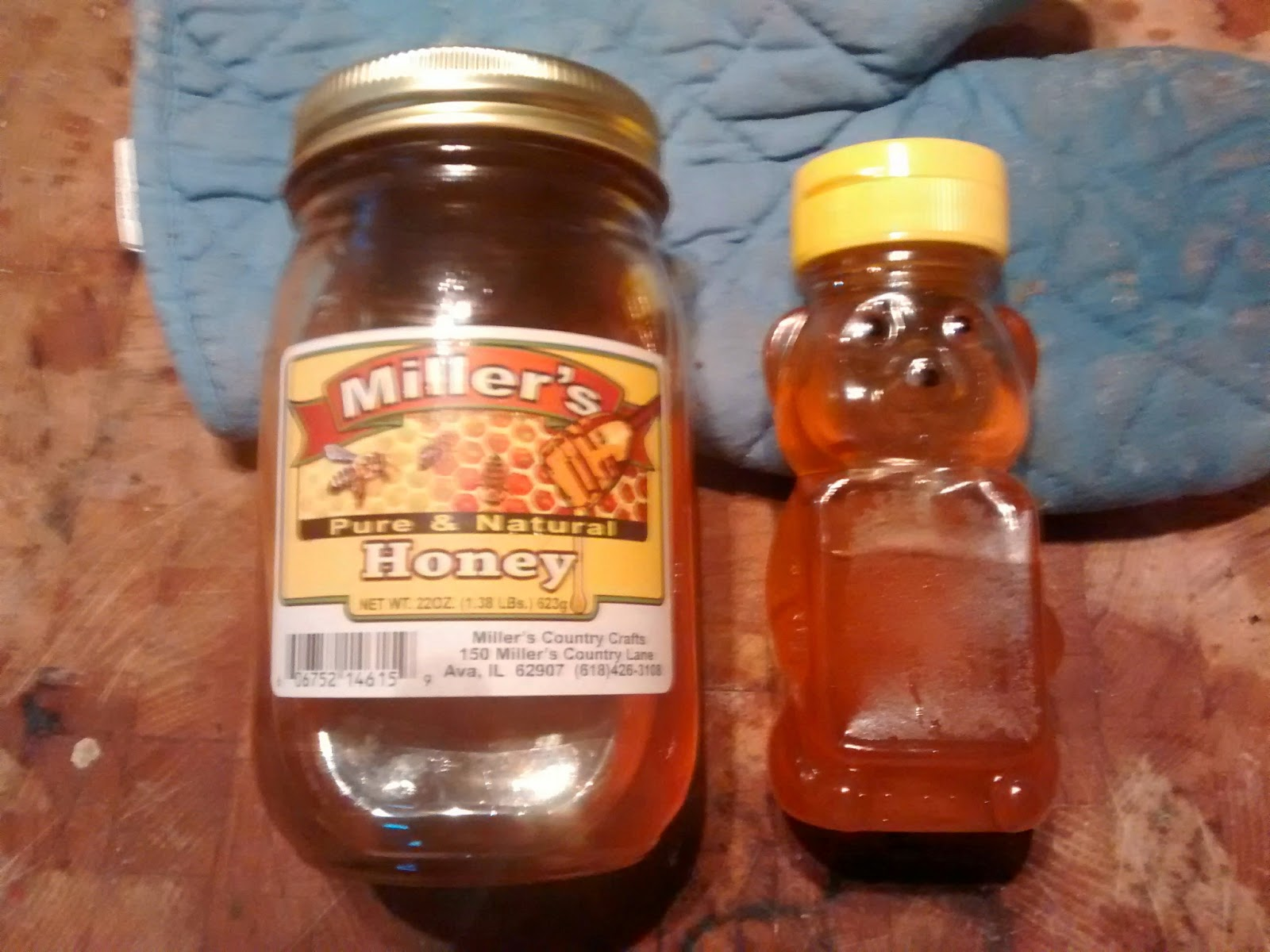 Substitute or Recycle Clarks Honey Farm Inc manmade Honey Bear Bottle with 100% Natural Honey I used Millers