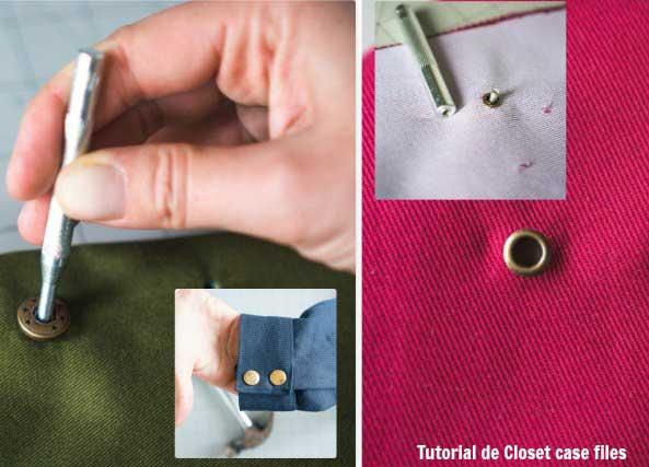 Agujeros con anillos metalicos y botones a presion en telas o prendas con tutoriales