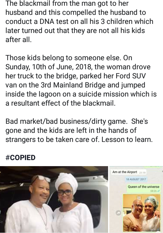 Woman rumored to have jumped from 3rd Mainland Bridge refutes rumors, says 'Am alive'