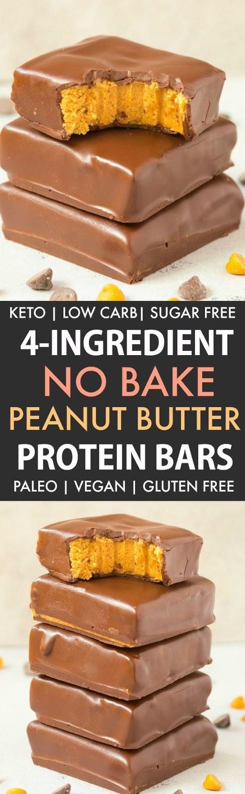 No Bake Peanut Butter Protein Bars (Keto, Vegan, Paleo)