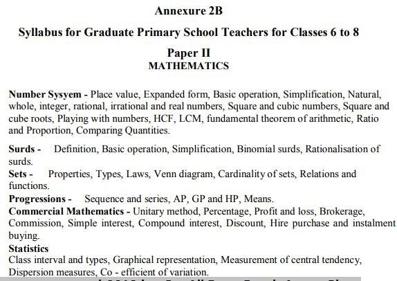 Exam Pattern and Syllabus for Karnataka Schools Graduate Primary