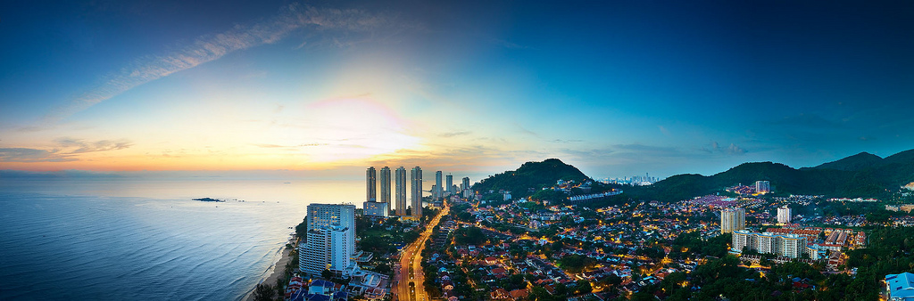 Penang Aerial Evening Scene