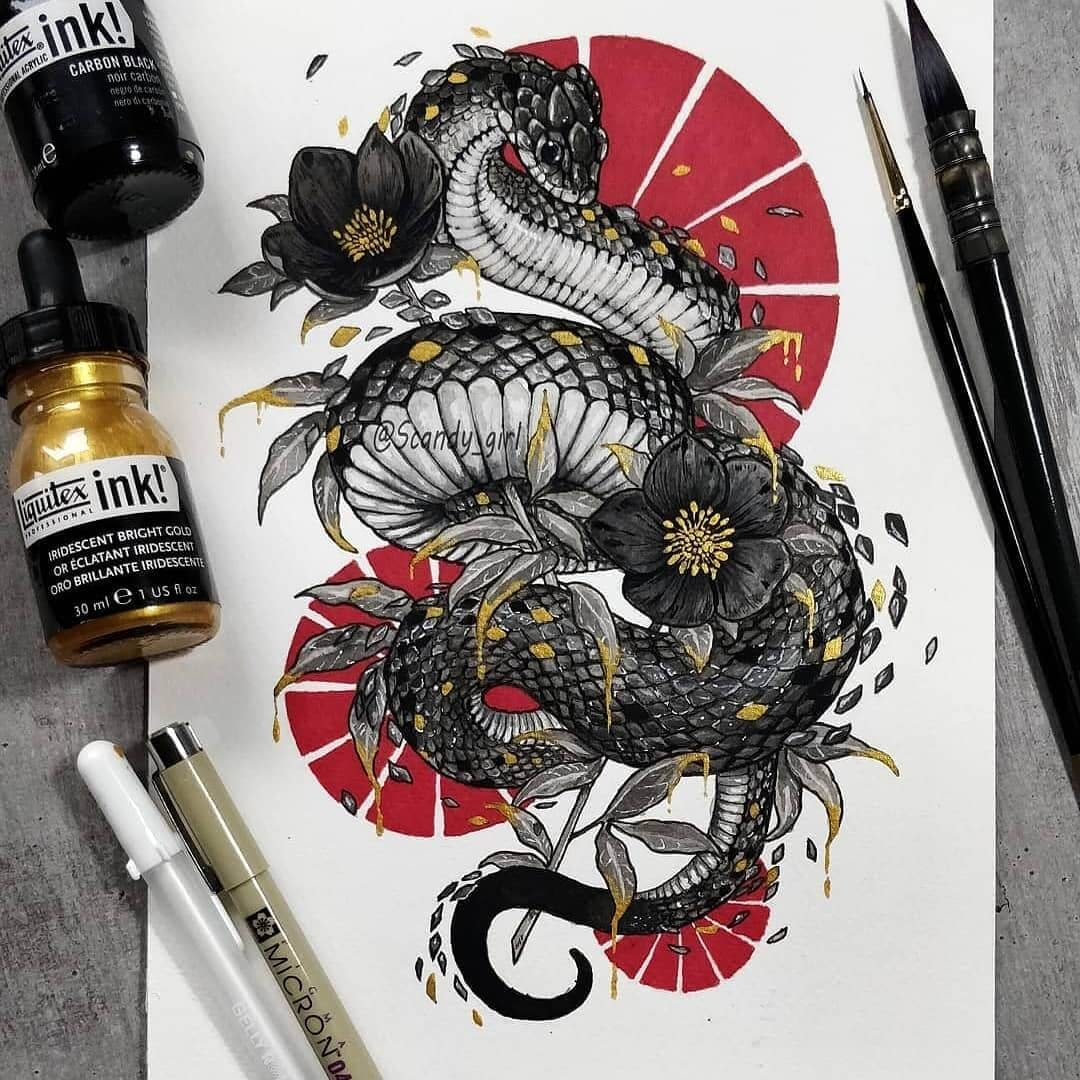 04-Coiled-Snake-Jonna-Hyttinen-Animals-Mixture-of-Drawings-and-Paintings-www-designstack-co