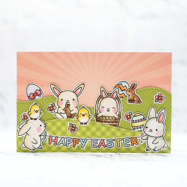 Sunny Studio Stamps: Chubby Bunny Spring Themed Happy Easter Card by Lexa Levana