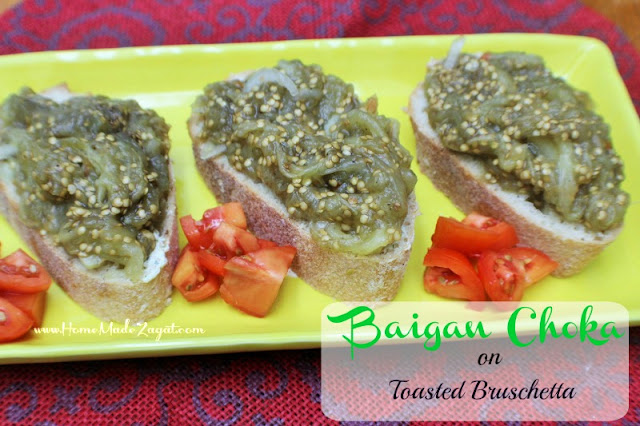 Baigan Choka (Roasted Eggplant) on Toasted Bruschetta
