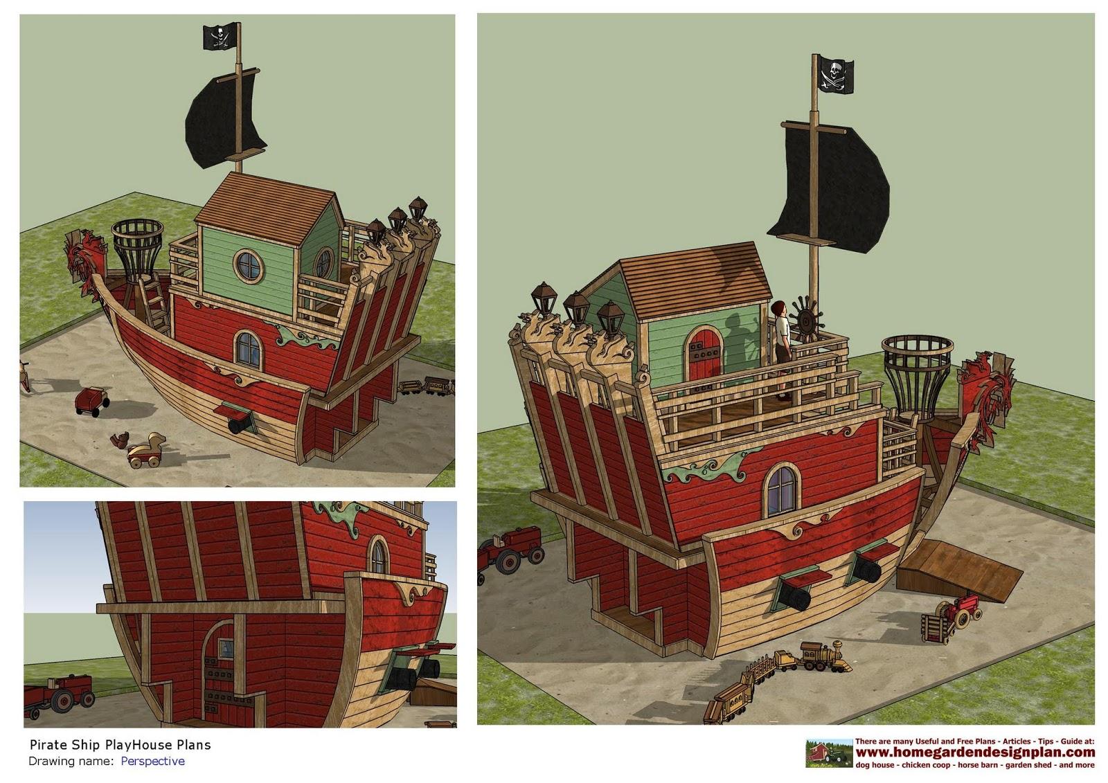home garden plans: PS100 - Pirates Ship PlayHouse Plans ...