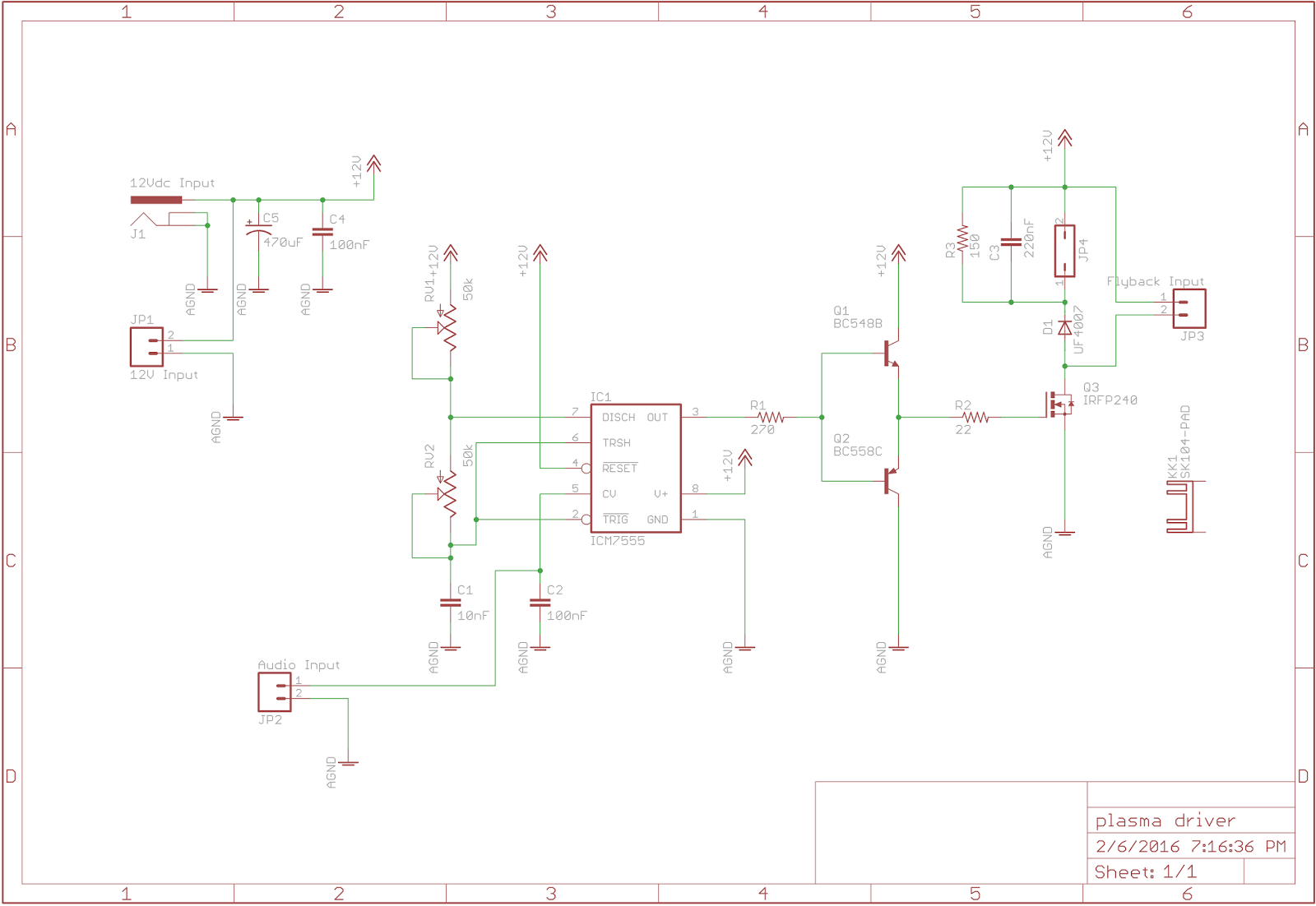 The Answer Is 42 555 Flyback Driver And Plasma Speaker Circuit Diagram Fairly Simple In Operation Power Supplied Via A Standard 12 Vdc 5 Amp Supply Dc Barrel Socket Or Mm Screw