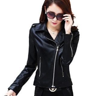 Gambar Jaket Kulit Warna Hitam untuk Wanita