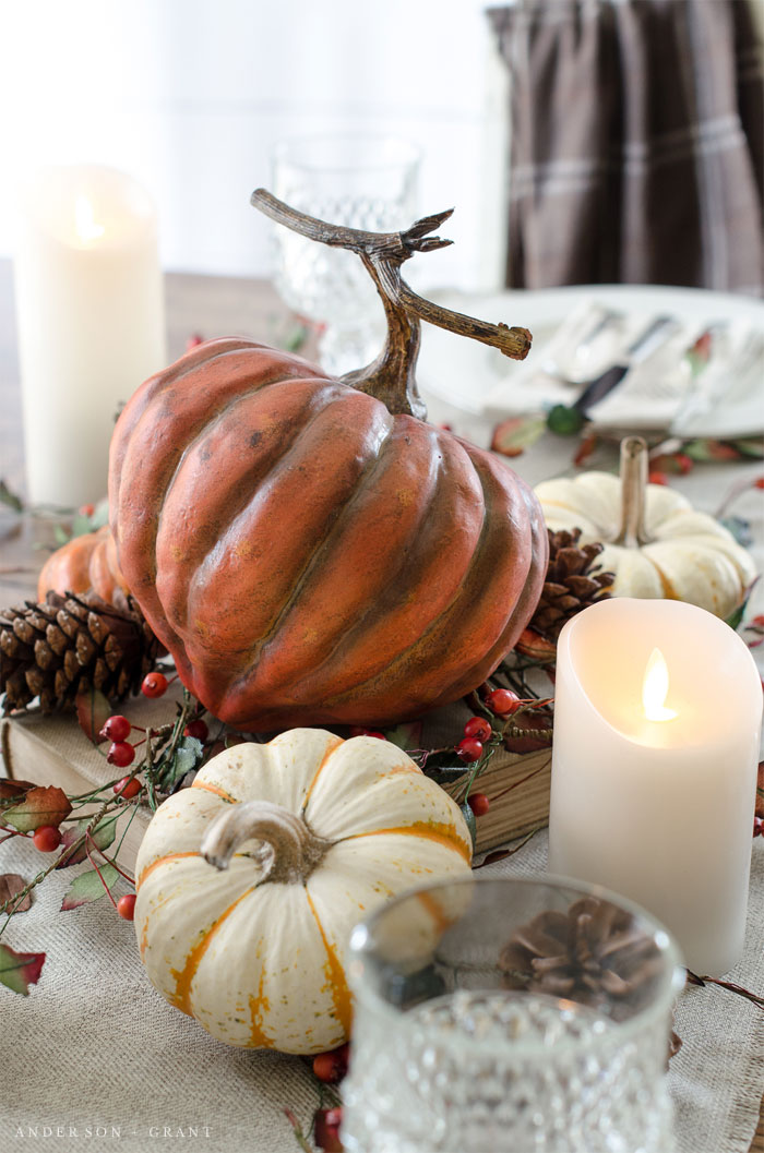 Create a beautiful fall centerpiece using pumpkins, pine cones, and berries.  |  www.andersonandgrant.com