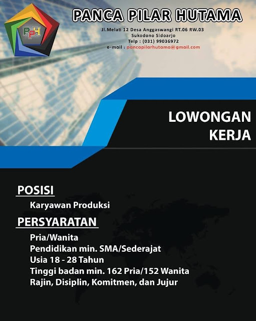 lowongan kerja Karyawan Produksi Panca Pilar Hutama Surabaya