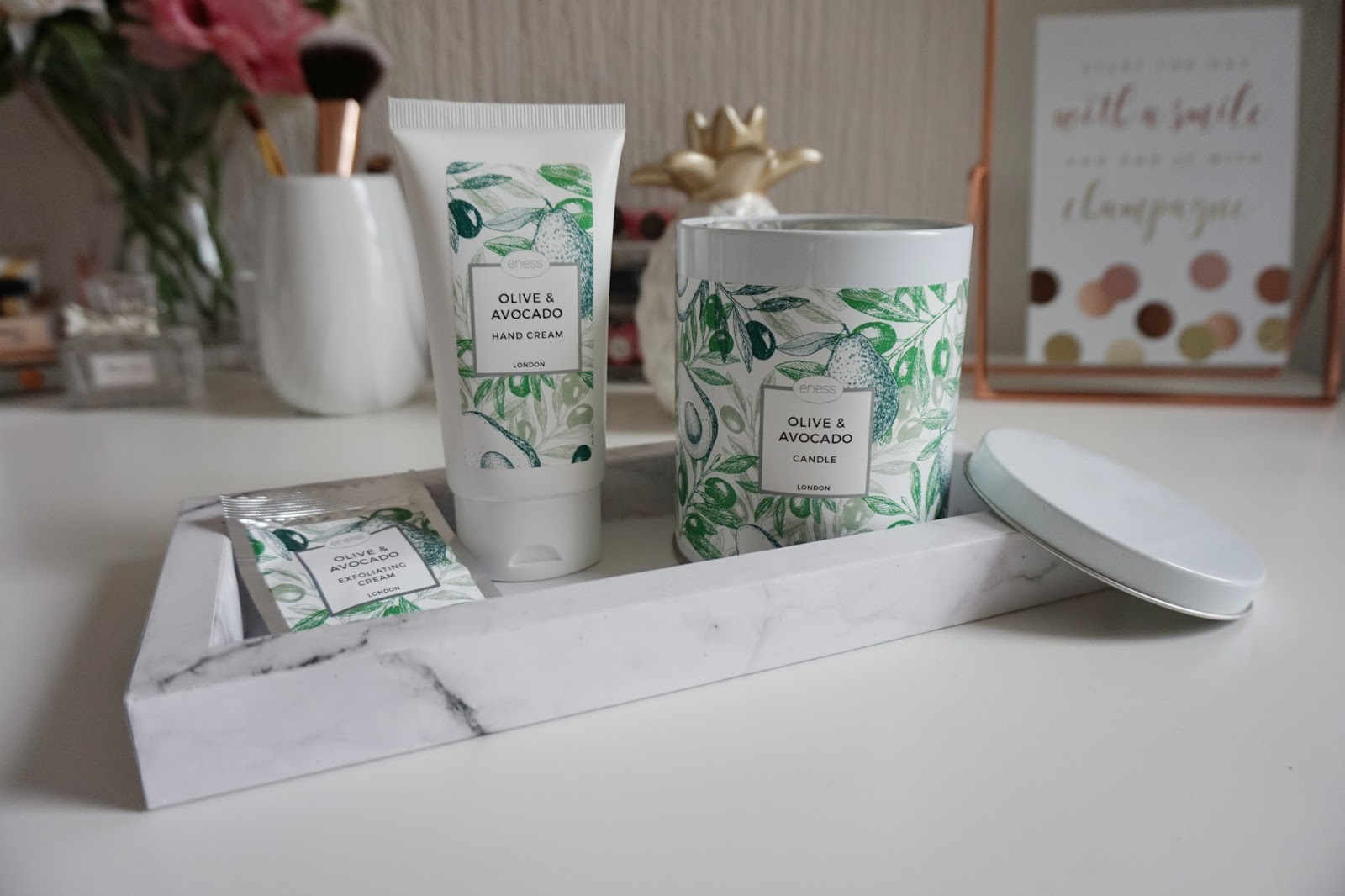 The Eness Cosmetics Olive and Avocado range wich includes hand cream, exfoliating cream and a scented candle