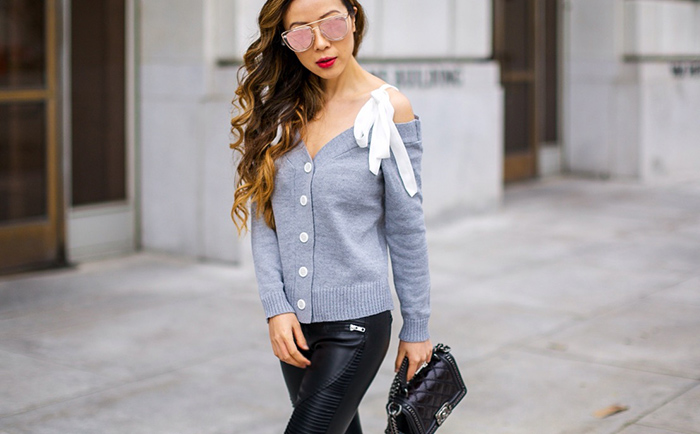 Off Shoulder knit cardigan with tie, moto pants, grey pumps, chanel boy bag, quay sunglasses, off shoulder cardigan, spring outfit ideas, san francisco fashion blog, san francisco street style