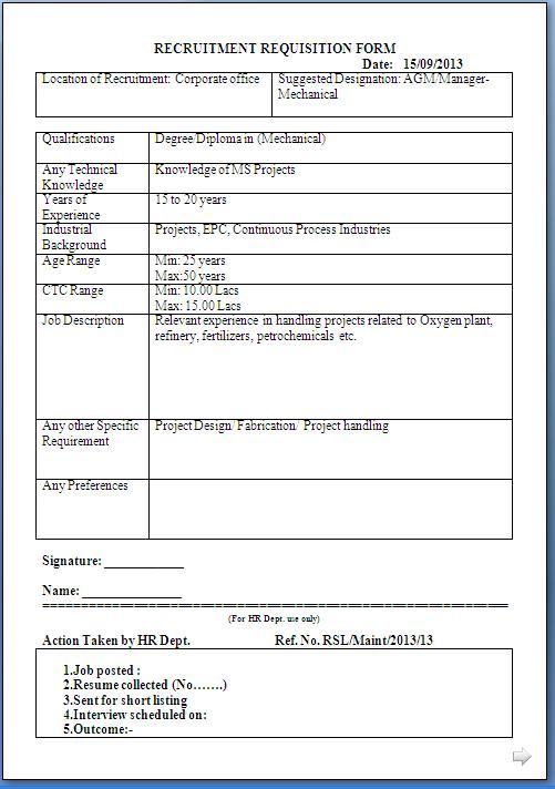 recruitment requisition form sample template