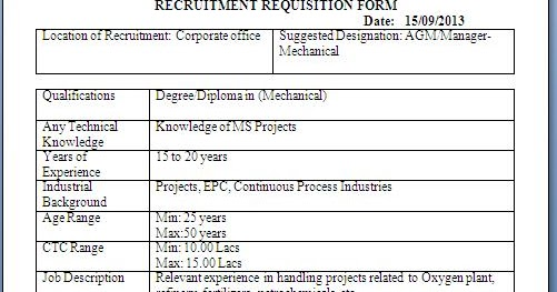 Recruitment Requisition Form Sample Template