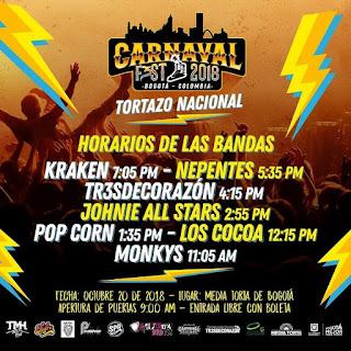 Programacion CARNAVAL FEST 2018 Bogota