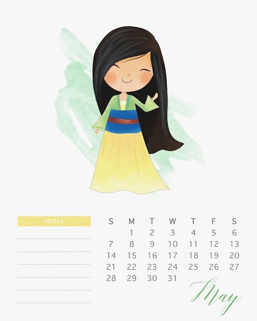 Calendario 2017 de las Princesas Disney para Imprimir Gratis  Mayo.