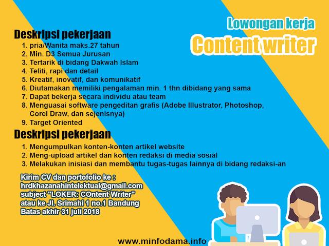 Lowongan Kerja PT. Berkah Khazanah Intelektual ( Cotent Writer) Bandung Juli 2018