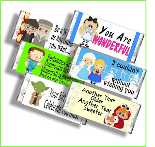 Get a sneak peak into our new Character Birthday Candy Bar Wrapper eBook with these 6 character candy bar wrappers.  You'll find Harry Potter, Alice in Wonderland, Minecraft, Frozen, Star Wars, and Sesame Street as well as a coupon to get the complete book so you can give Candy Bar Cards to all your friends for their birthday.