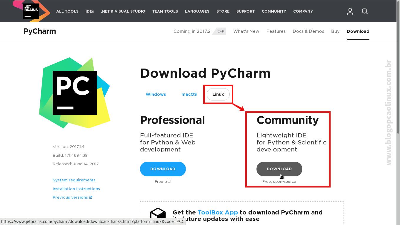 Página de download do PyCharm