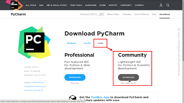 Página de download do PyCharm