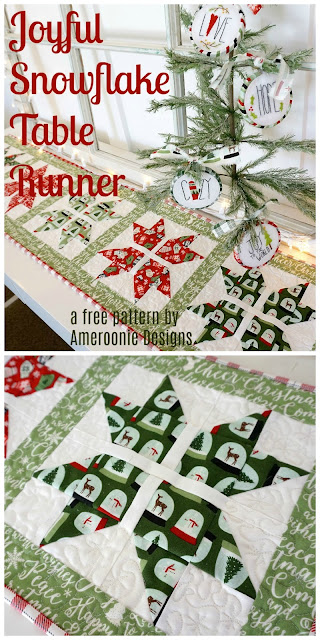 free sewing pattern for this Joyful Snowflake table runner