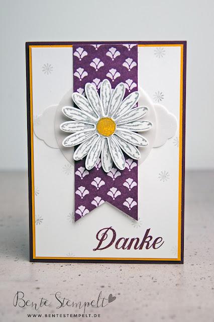 Stampin Up Gänseblümchengruß Stanze Gänseblümchen Designerpapier Florale Eleganz Stanze Zieretikett