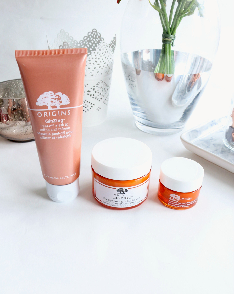 Origins GinZing Range including Origins GinZing Energy Boosting Moisturiser, Origins GinZing Refreshing Eye Cream and the Origins GinZing Peel Off Mask