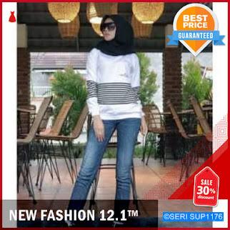 SUP1176A18 Atasan Kaos Reallme Garispakaian Wanita Fashion BMGShop