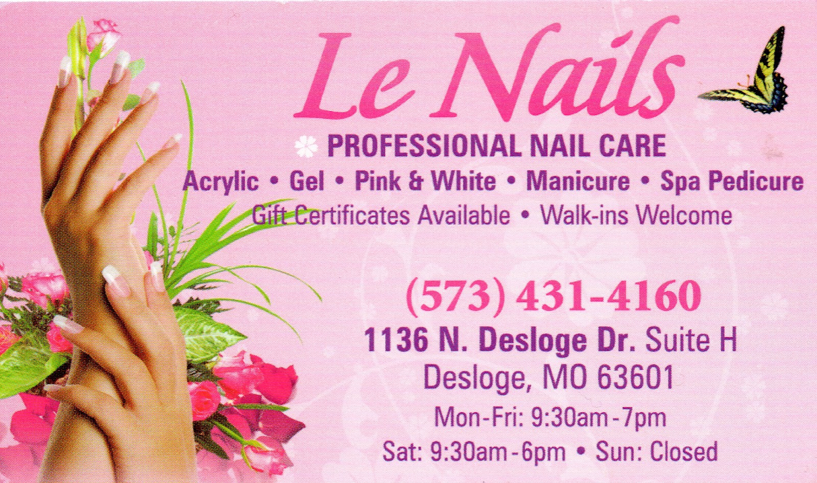 Nails salon business card oxynux le nails business card nail salon review le nails desloge mo colourmoves