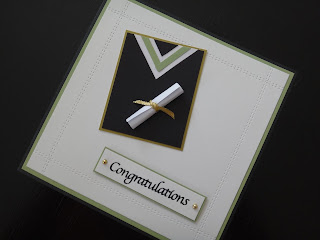 handmade graduation card with faux stitched edging