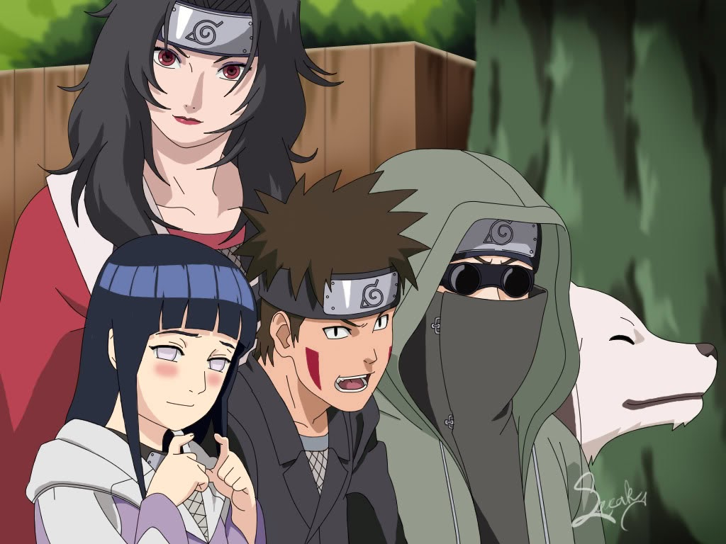 The most powerful trackers is altogether in team 8  Hinata- Byakugan    Naruto Team 8
