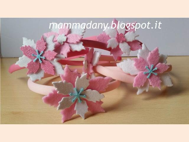Cerchietti di natale rosa e bianchi