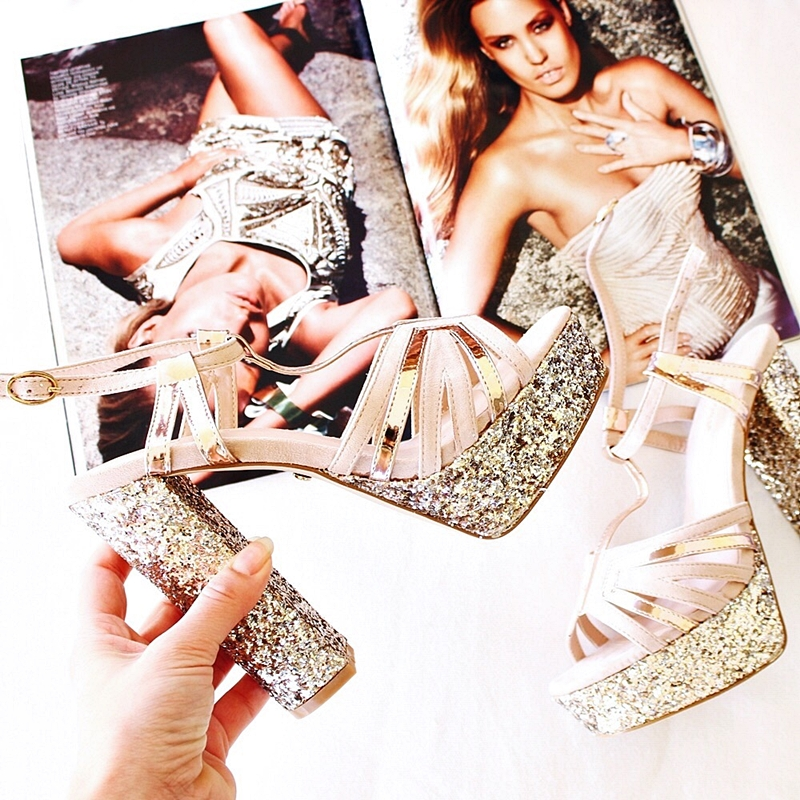 beige suede strappy platform sandals with chunky gold glitter heels