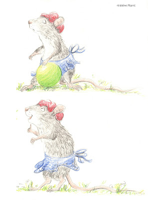 Cooper, crayons couleur, souris